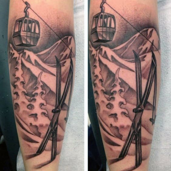 Mens Skis In The Snow Mountain Scene Forearm Tattoos