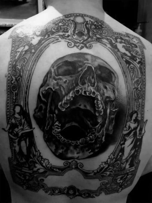 Mens Skull Back Tattoo Design Ideas