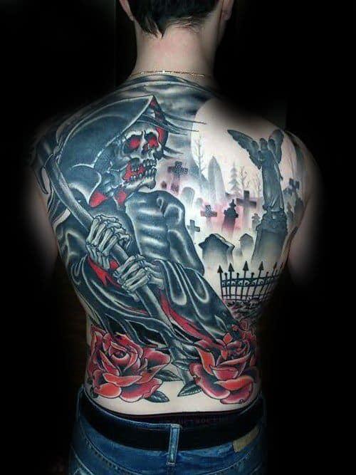 Mens Skull Back Tattoo Ideas