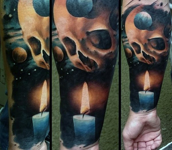 Men's Skull Candle Space Tattoos
