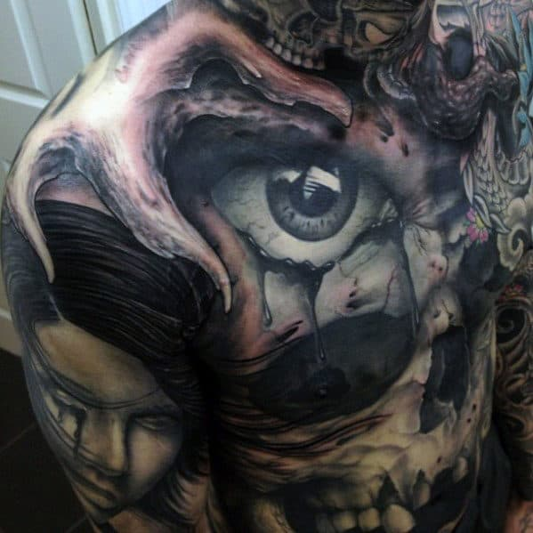 Men's Skull Chest Tattoos