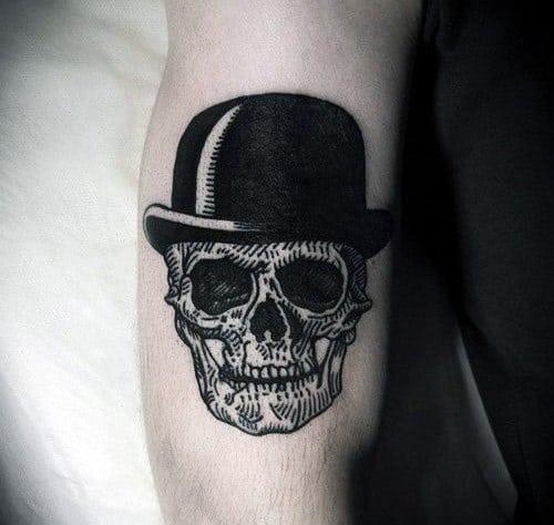 Men's Skull Hat Arm Tattoo