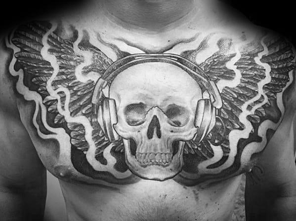 Mens Skull Headphones Tattoo Design Ideas Upper Chest