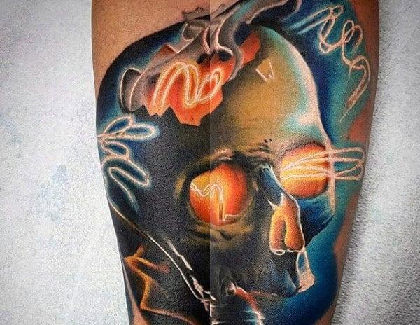 Mens Skull Light Bulbarm Tattoo