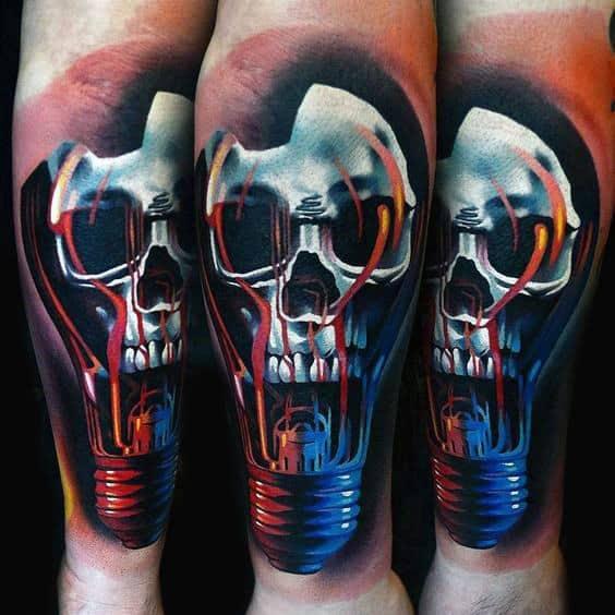 Mens Skull Modern Light Bulb 3d Tattoos On Forearm