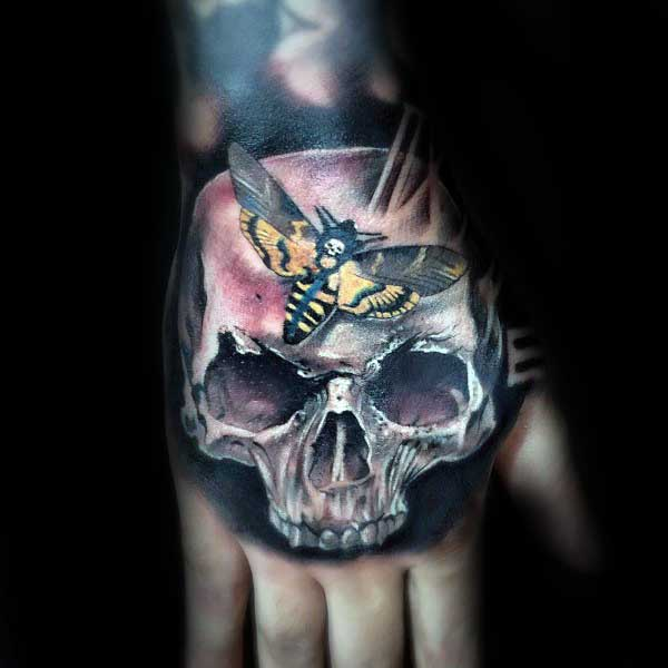Mens Skull Moth Hand Tattoos