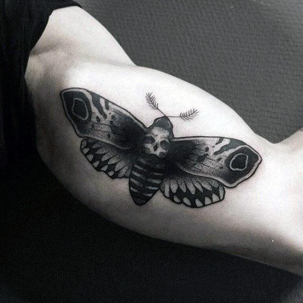 Mens Skull Moth Inner Arm Bicep Tattoo Design Ideas
