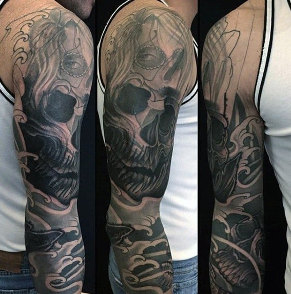 Mens Skull Ocean Waves Tattoo Cover Up Sleeve Design Ideas