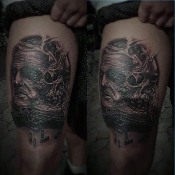 Men's Skull Pistol Gun Tattoo
