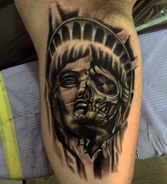 Mens Skull Statue Of Liberty Tattoo On Bicep