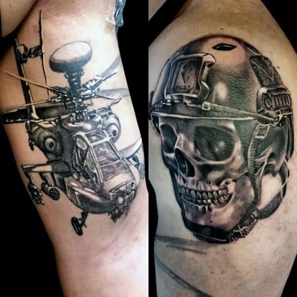 Mens Skull Wearing Army Helmet Upper Arm Tattoos