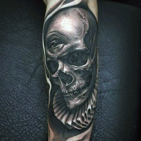 Mens Skull With All Seeing Eye Inner Forearm Tattoo