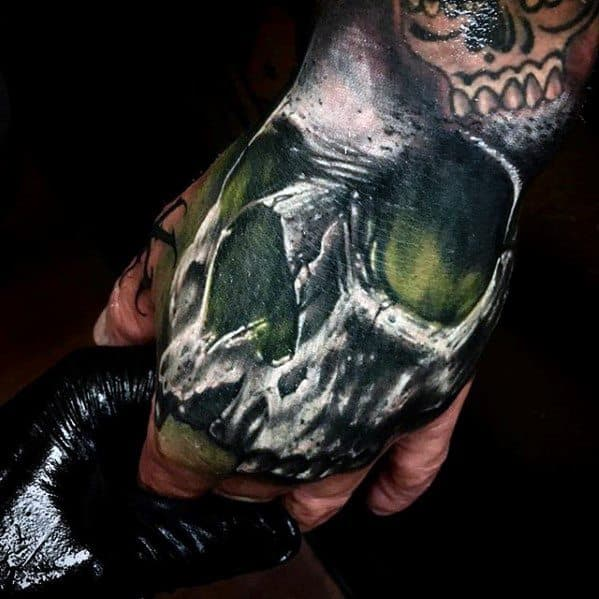 Mens Skull With Green Glow Unique Hand Tattoos