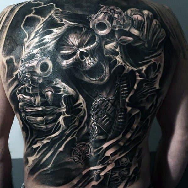 Mens Skull With Revovlers Full Back Great Tattoo Ideas