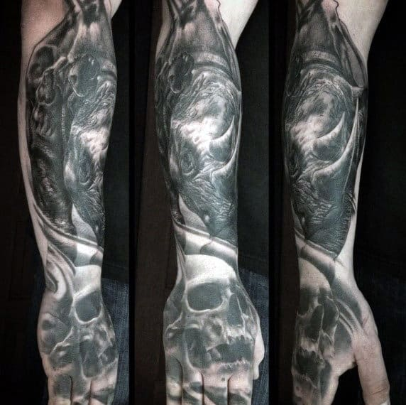 Mens Skull With Rhino Forearm Tattoo