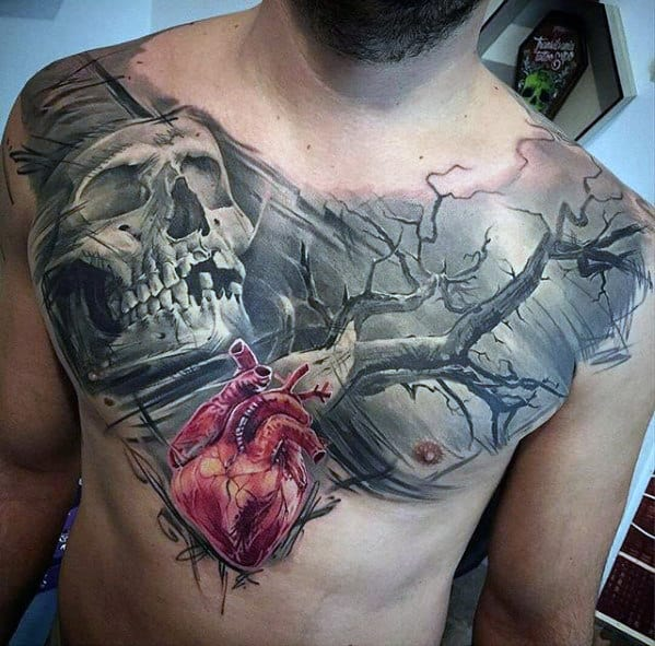Mens Skull With Tree And Heart Unbelievable 3d Chest Tattoo