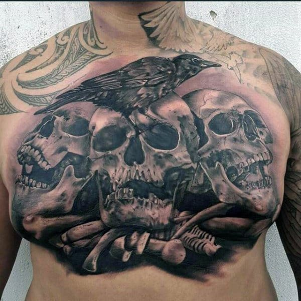 Mens Skulls And Bones Crow Chest Tattoo