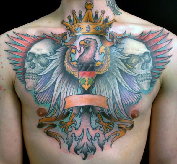 Mens Skulls With German Eagle And King Crown Tattoo Design