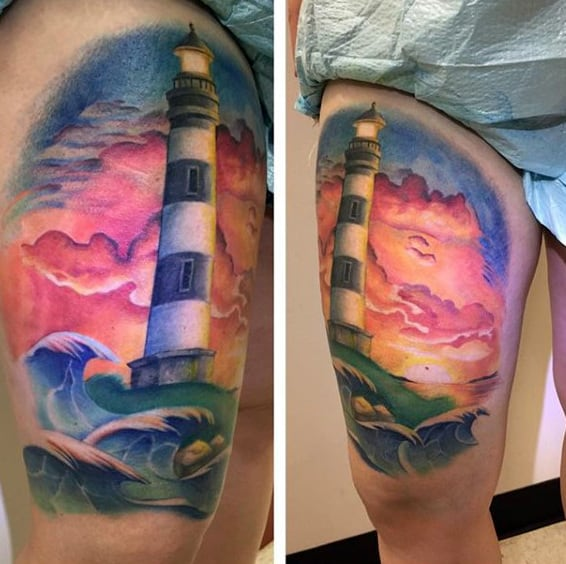 Mens Sky Lighthouse Thigh Tattoos