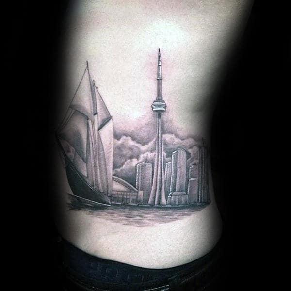 Mens Skyline Rib Cage Side Building Tattoos