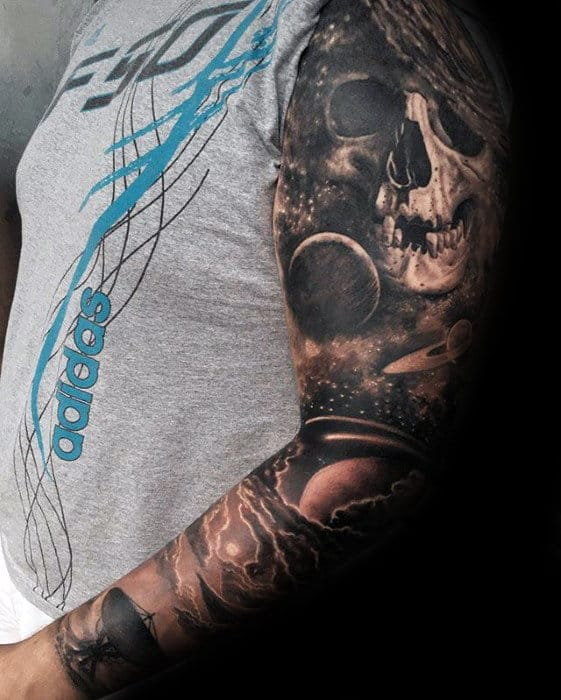 Mens Sleeve 3d Skull And Outer Space Night Sky Tattoo Designs