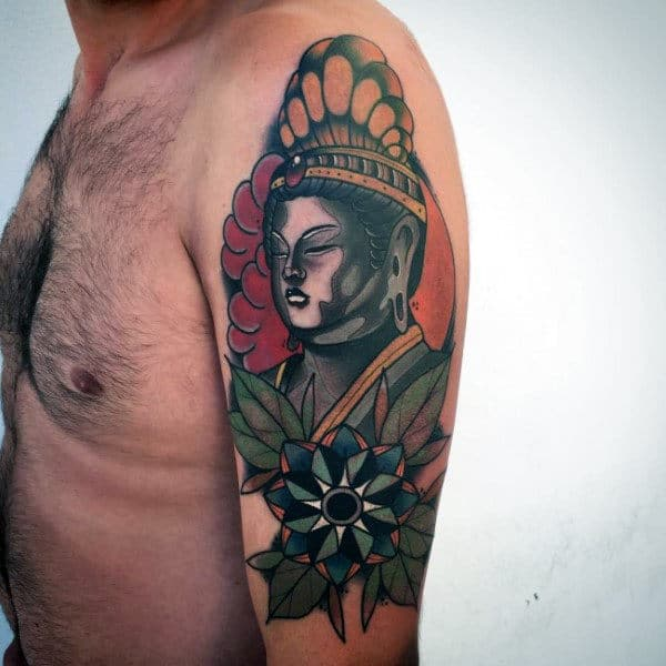 Mens Sleeve Colorful Buddhism Tattoo