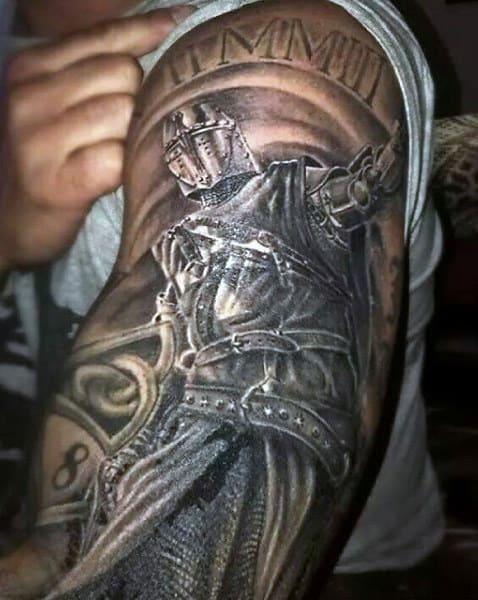 Mens Sleeve Dark Knight Tattoo