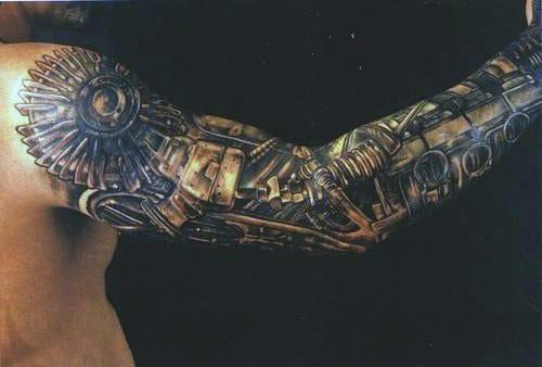 Mens Sleeve Elbow Steampunk Tattoo