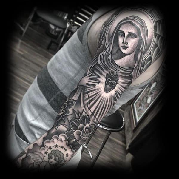 Mens Sleeve Fantastic Religious Tattoo