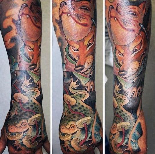 Mens Sleeve Fox Themed Tattoo