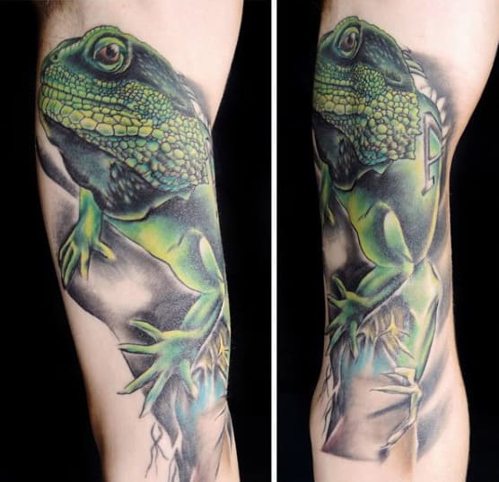 Mens Sleeve Nocturnal Lizard Tattoo
