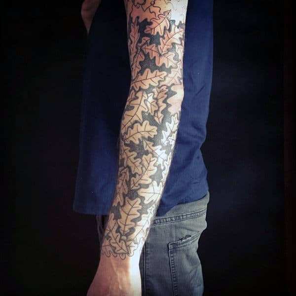 Mens Sleeve Pretty Pattern With Oak Leaves Tattoo