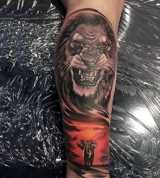 Mens Sleeve Roaring Beast And Elephant Tattoo