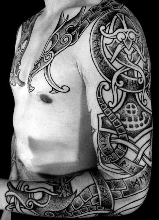 Mens Sleeve Rune Tattoos