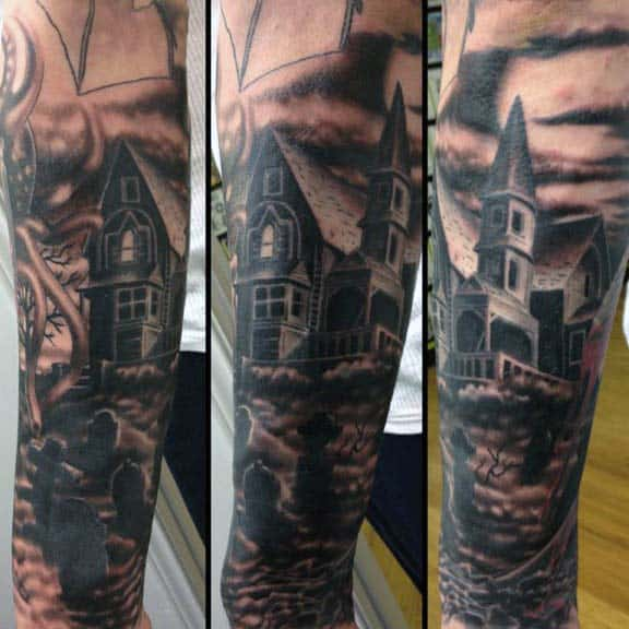 Mens Sleeve Tattoo Of Tombstones