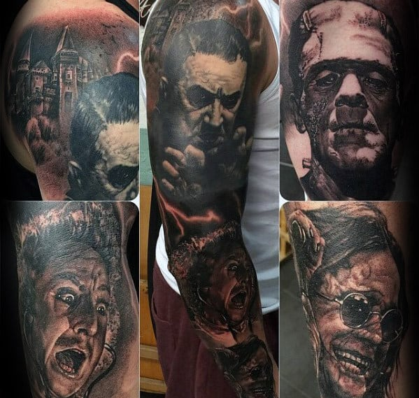Mens Sleeve Tattoo With Dracula And Frankenstein Design