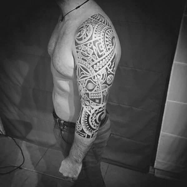 Mens Sleeve Tattoo With Polynesian Tribal Design
