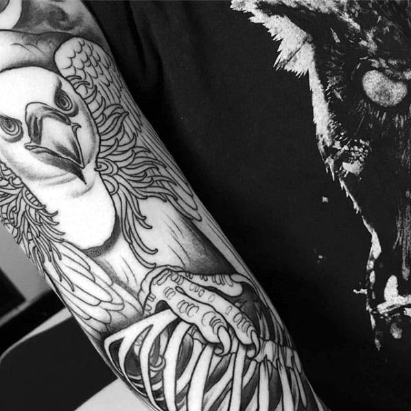 Mens Sleeve Vulture With Rib Bone Skeleton Tattoo