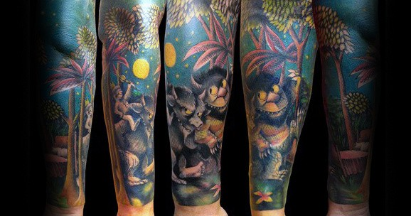 Mens Sleeve Where The Wild Things Are Themed Tattoos
