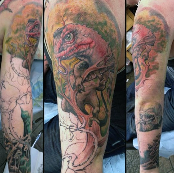 Mens Sleeves Angry Pink Forest Lizard Tattoo
