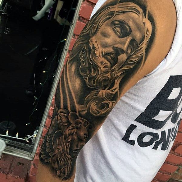 Mens Sleeves Bearded Man Religious Tattoo