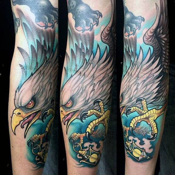Mens Sleeves Gigantic Neo Traditional Eagle Tattoo