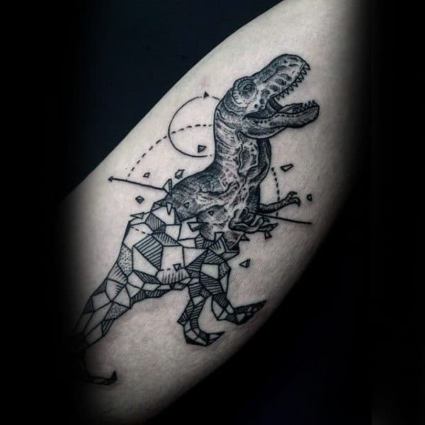 Mens Sleeves Grey Black Dinosaur Tattoo Design