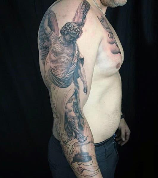 Mens Sleeves Guardian Angel Killing Evil Tattoo