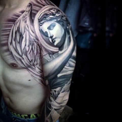 Mens Sleeves Guardian Angel Tattoo