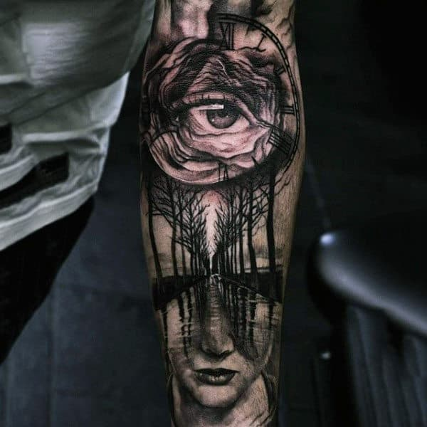 Mens Sleeves Lonely Path With Trees And Eye Clock Tattoo
