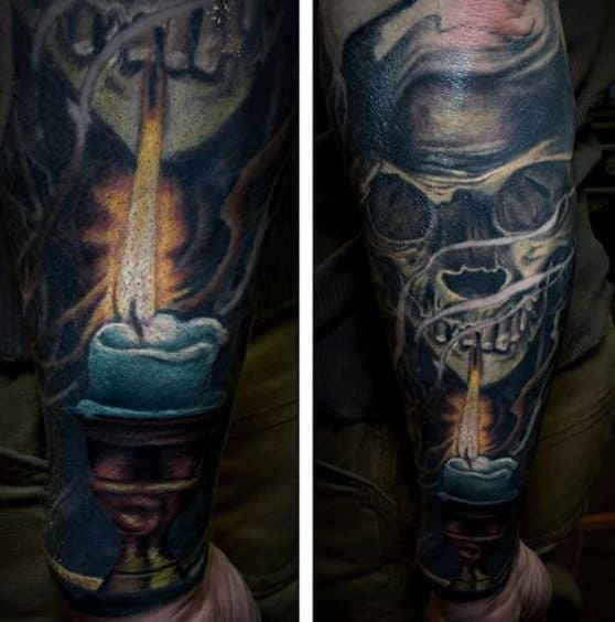 Mens Sleeves Manly Tattoo Ok Skull With Lit Candle