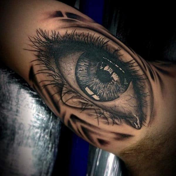Mens Sleeves Realistic Black Eye With Good Details Tattoo