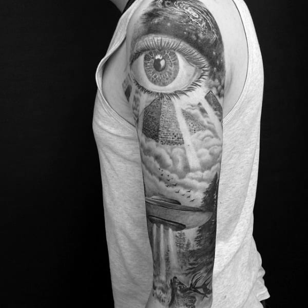 Mens Sleeves Realistic Grey Eye And Spaceship Tattoos