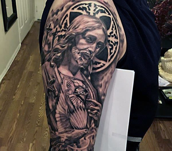 75 Religious Sleeve Tattoos For Men
